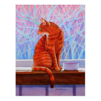 Winter Window Tabby Cat Postcard