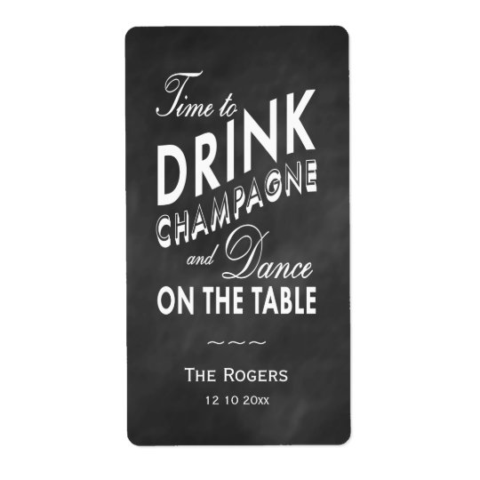Winter Wine Label Time to Drink Champagne Shipping Label