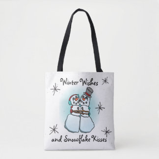 Winter Wishes Snowman Tote Bag