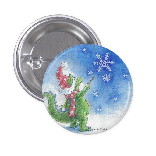 Winter Wizard Dragon Round Button