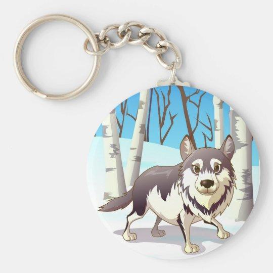 Winter Wolf Basic Round Button Key Ring