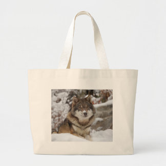 Winter Wolf Large Tote Bag