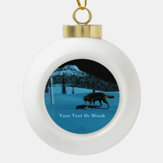 Winter Wolf - Tapetum Lucidum Ceramic Ball Christmas Ornament