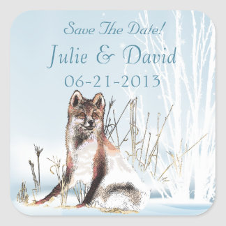 Winter Wolf Wedding Save The Date Square Sticker