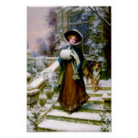 Winter Woman Collie Dog Poster