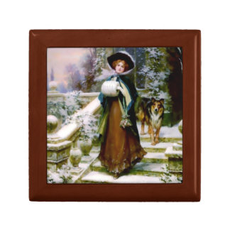 Winter Woman Collie Dog Small Square Gift Box