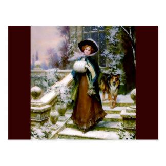 Winter Woman Collie Dog Victorian Hand Muff Postcard