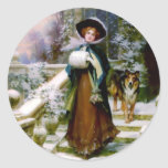 Winter Woman Collie Dog Victorian Hand Muff Stickers