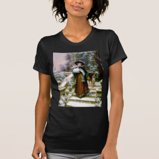 Winter Woman Collie Dog Victorian Hand Muff T-Shirt