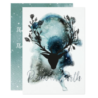 Winter Wonder Mystic Deer Peace on Earth Christmas Card