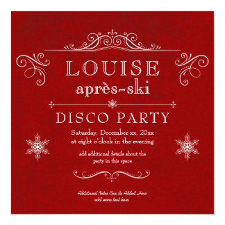 Winter Wonderland Apres-Ski Birthday Party 13 Cm X 13 Cm Square Invitation Card