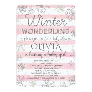 Winter Wonderland Baby Shower Invitation Pink