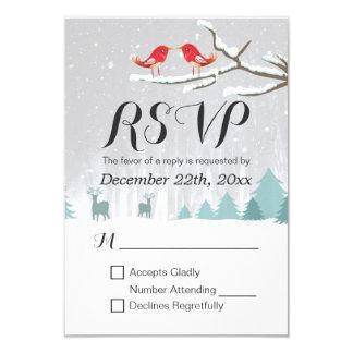 Winter Wonderland Bird Reindeer Wedding RSVP Reply Card