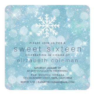 Winter Wonderland Blue Snowy Bokeh Sweet Sixteen Card