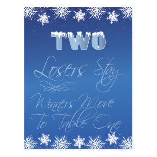 Winter Wonderland Bunco Table Card #2 Postcard