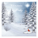 Winter Wonderland & Cardinal Christmas Party Invitations