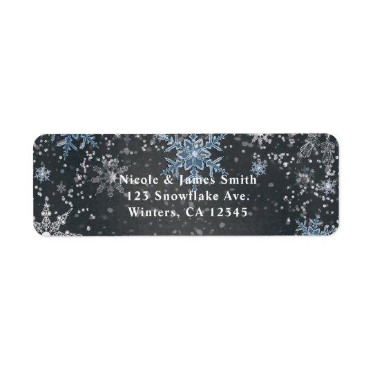 Winter Wonderland Chalk Blue Grey Party Invitation Return Address Label