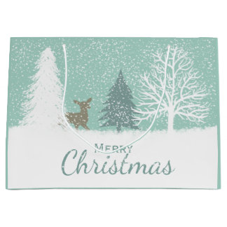 Winter Wonderland deer, snow pine trees Christmas Large Gift Bag