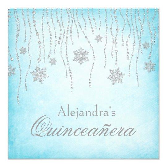 Winter Wonderland Diamond Snowflakes Quinceanera Card