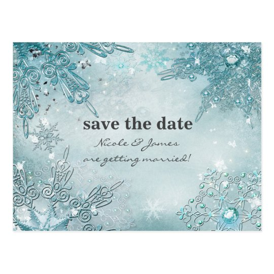 Winter Wonderland Elegant Snowflakes Save the date Postcard