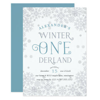Winter Wonderland First Birthday Party Invitation