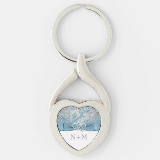 Winter Wonderland, Joined Hearts Metal Keychain Silver-Colored Twisted Heart Key Ring