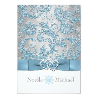 "Winter Wonderland Joined Hearts Wedding Invite 5"" X 7"" Invitation Card"