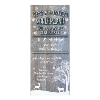 Winter Wonderland Joint Birthday Invitations