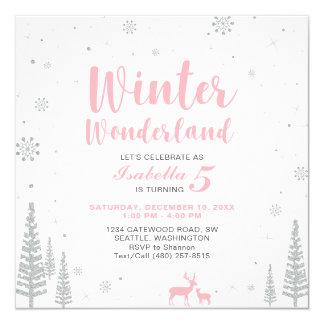Winter Wonderland  Kids Birthday Invitation - Girl