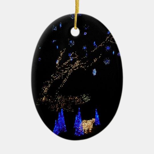 Winter Wonderland Lights Blue and White Holiday Ceramic Oval Decoration
