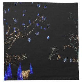 Winter Wonderland Lights Blue and White Holiday Napkin