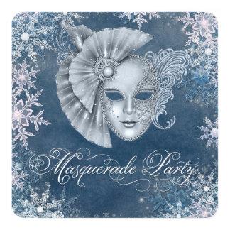 """Winter Wonderland Masquerade Party Invitations 5.25"""" Square Invitation Card"""