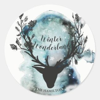 Winter Wonderland Mystic Reindeer Christmas Classic Round Sticker