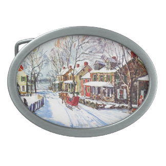 Winter Wonderland Oval Belt Buckles