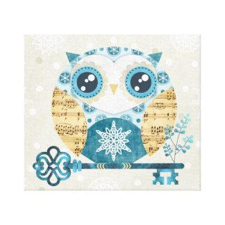 Winter Wonderland Owl Wrapped Canvas Print