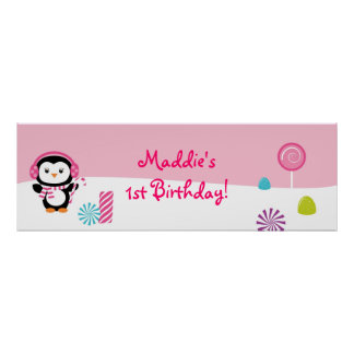 Winter Wonderland Penguin Birthday Banner Sign Poster