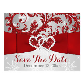 Winter Wonderland Save the Date Postcard - Red