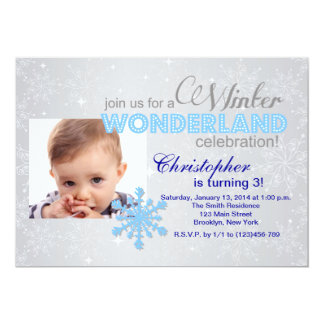 Winter Wonderland Snowflake 1st Birthday Invite