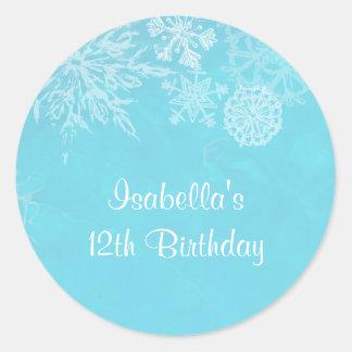 Winter Wonderland Snowflake Frost Birthday Party Round Sticker