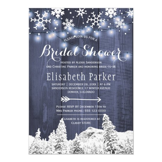 Winter wonderland snowing bridal shower card
