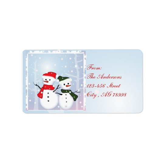 Winter Wonderland Snowman Our First Christmas Address Label