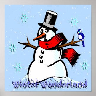 Winter Wonderland Snowman Poster