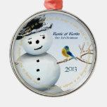 Winter Wonderland Snowman with Love Bird Silver-Colored Round Decoration