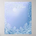 Winter Wonderland Sweet Sixteen Sign in Board Poster