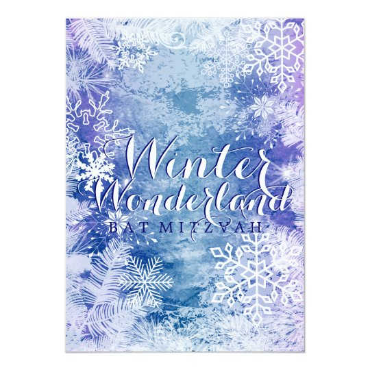Winter Wonderland Theme BAT MITZVAH Birthday Card