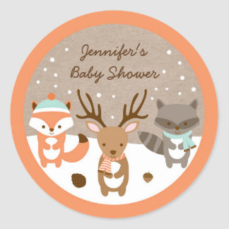 Winter Woodland Animal Baby Shower Classic Round Sticker