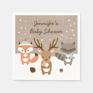 Winter Woodland Animal Baby Shower Paper Napkins