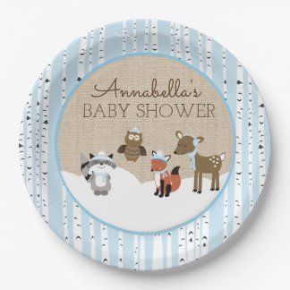 Winter Woodland Animals Plate | Blue 9 Inch Paper Plate