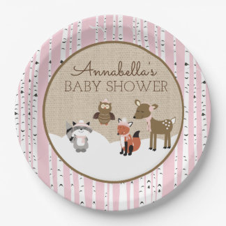 Winter Woodland Animals Plate | Pink 9 Inch Paper Plate