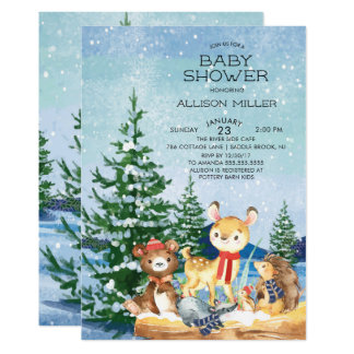 Winter Woodland Baby Shower Invitations
